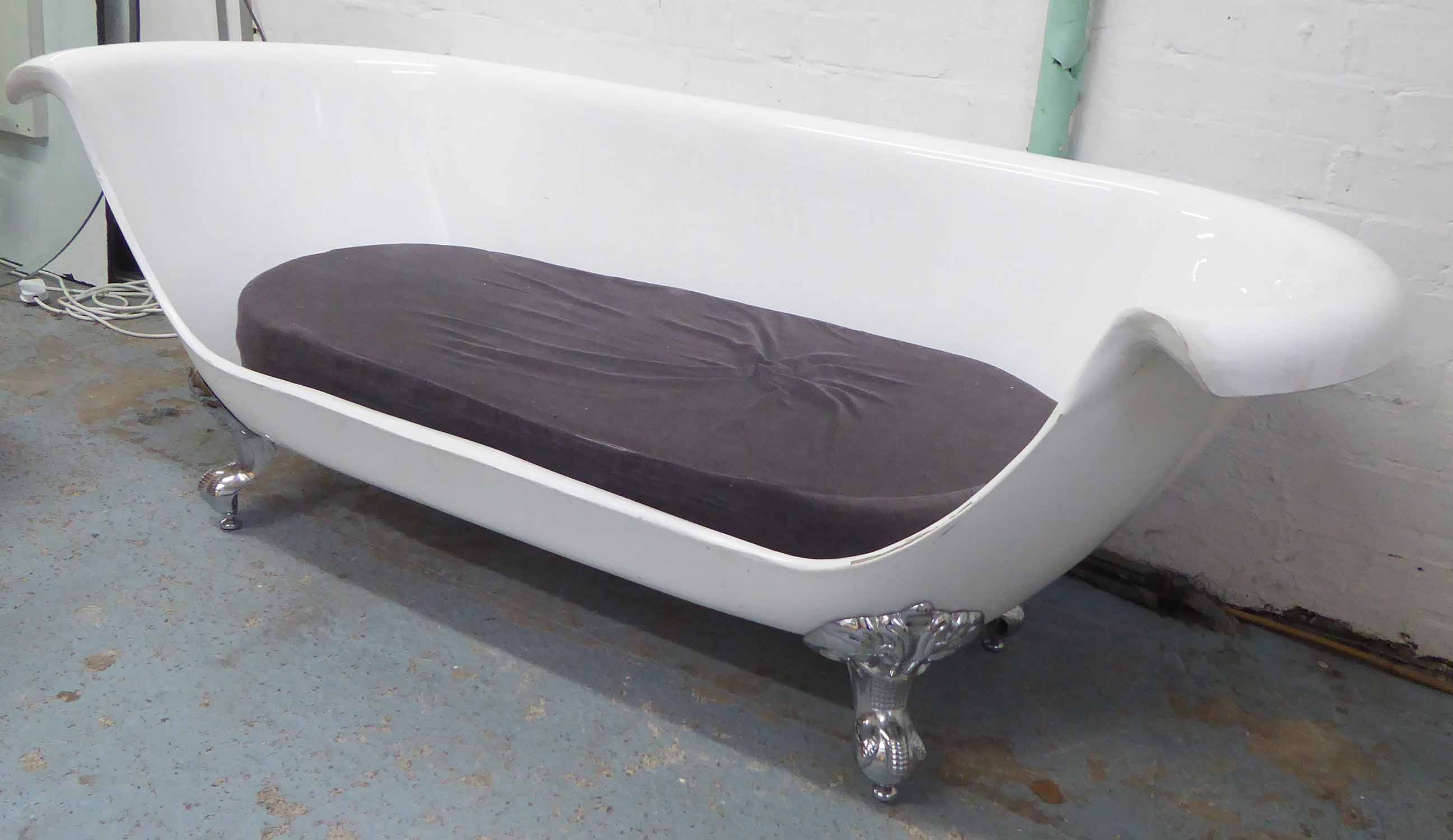 Lot 69 - SOFA, adapted from a white bath with grey velvet cushion on chrome feet, 177cm W.