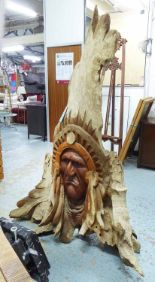 Lot 45 - INDIAN CHIEF'S HEAD, carved from single piece of driftwood, 180cm H.