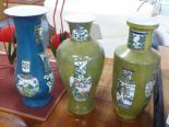 Lot 97 - ORIENTAL VASES, a set of three, various shapes, tallest 42cm H.