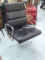 Lot 7 - ICF DESK CHAIR, black leather on chrome frame.