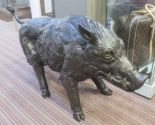 Lot 74 - BRONZE WILD BOAR, contemporary school study, 65cm H.