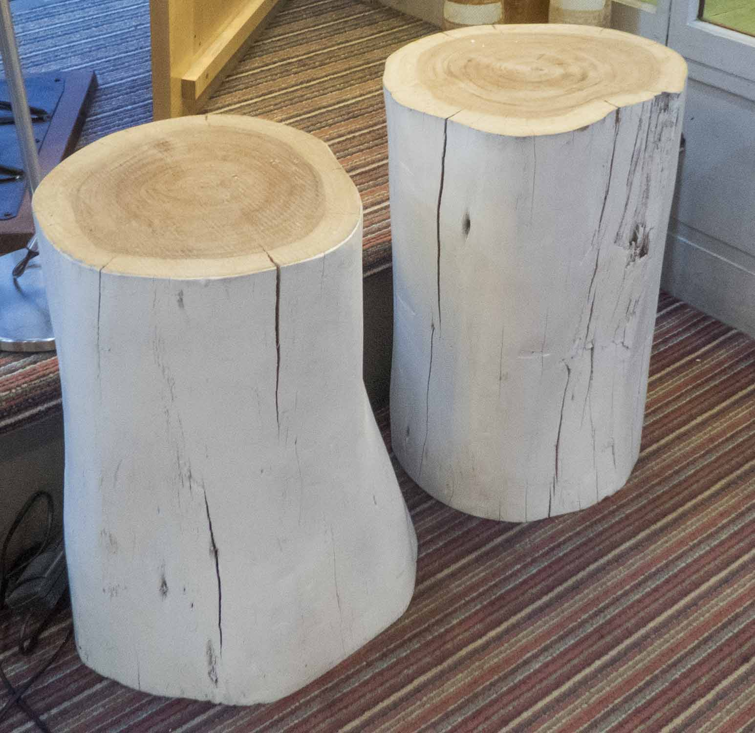 Lot 59 - LOG DRINKS TABLES, a duo, with white painted finish.