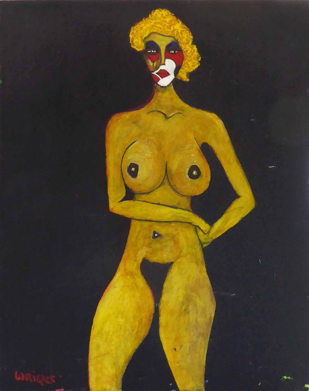 Lot 92 - LEONARD JAMES WRIGHT, untitled acrylic on canvas, signed, 70cm x 55cm.