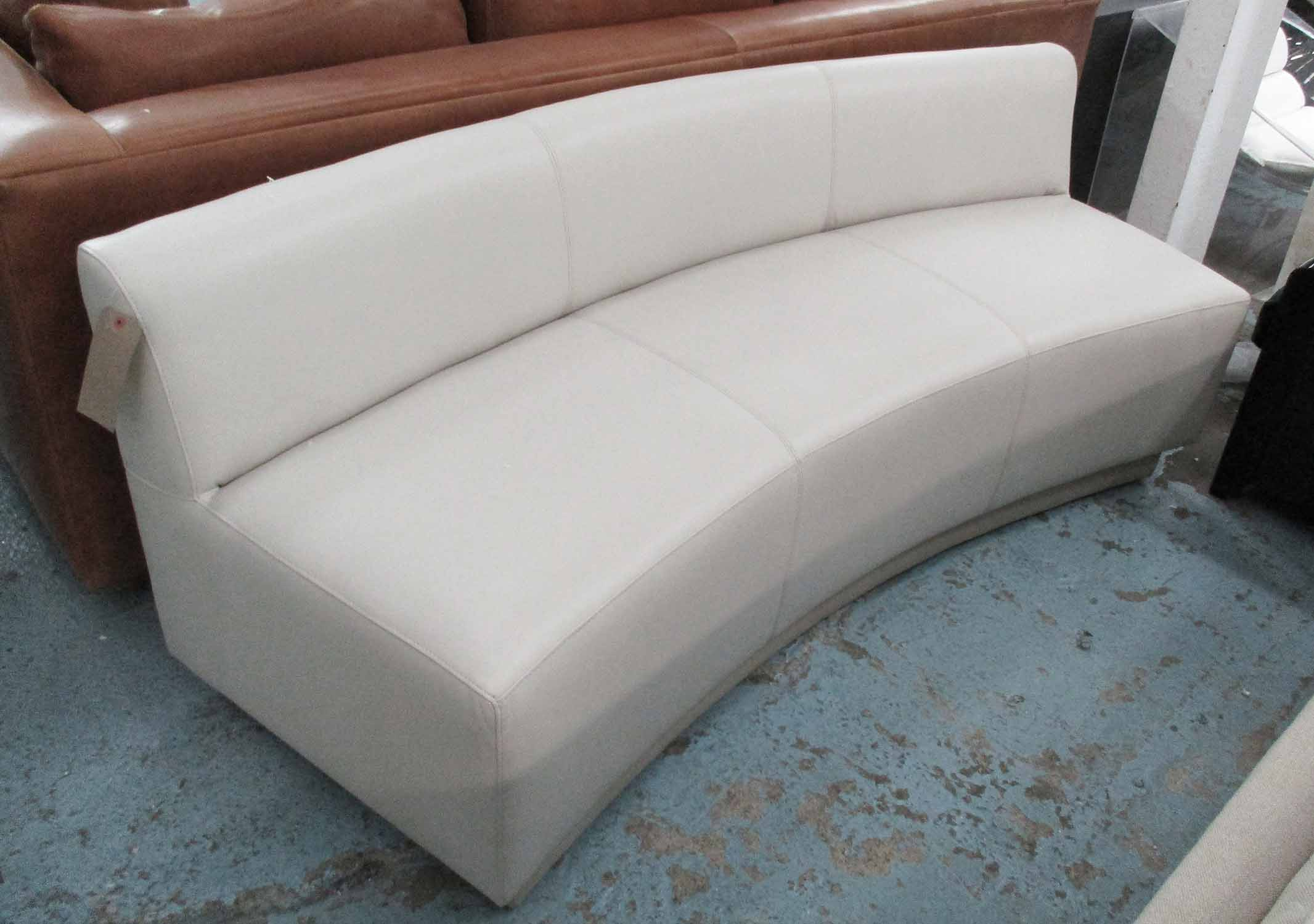 Lot 35 - BENCH/SOFA, three seater, in cream leather on cream supports, 200cm L.