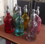 Lot 109 - SODA SYPHONS, a set of six, vintage French style, marked Martin S Freres CIE, 33cm H.