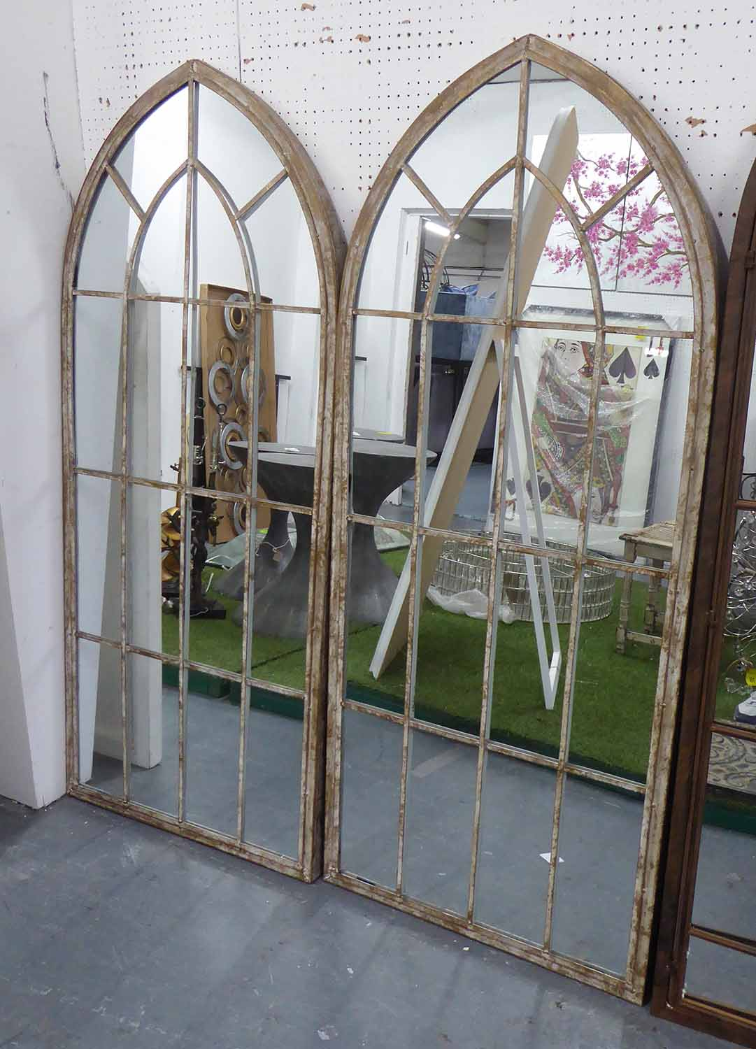 Lot 79 - ORANGERY MIRRORS, a pair, French provincial style, 160cm x 67cm.