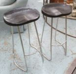 Lot 61 - FRENCH CONNECTION BAR STOOLS, a pair, on chromed metal supports, retail £150 each, 38cm W x 74cm H.