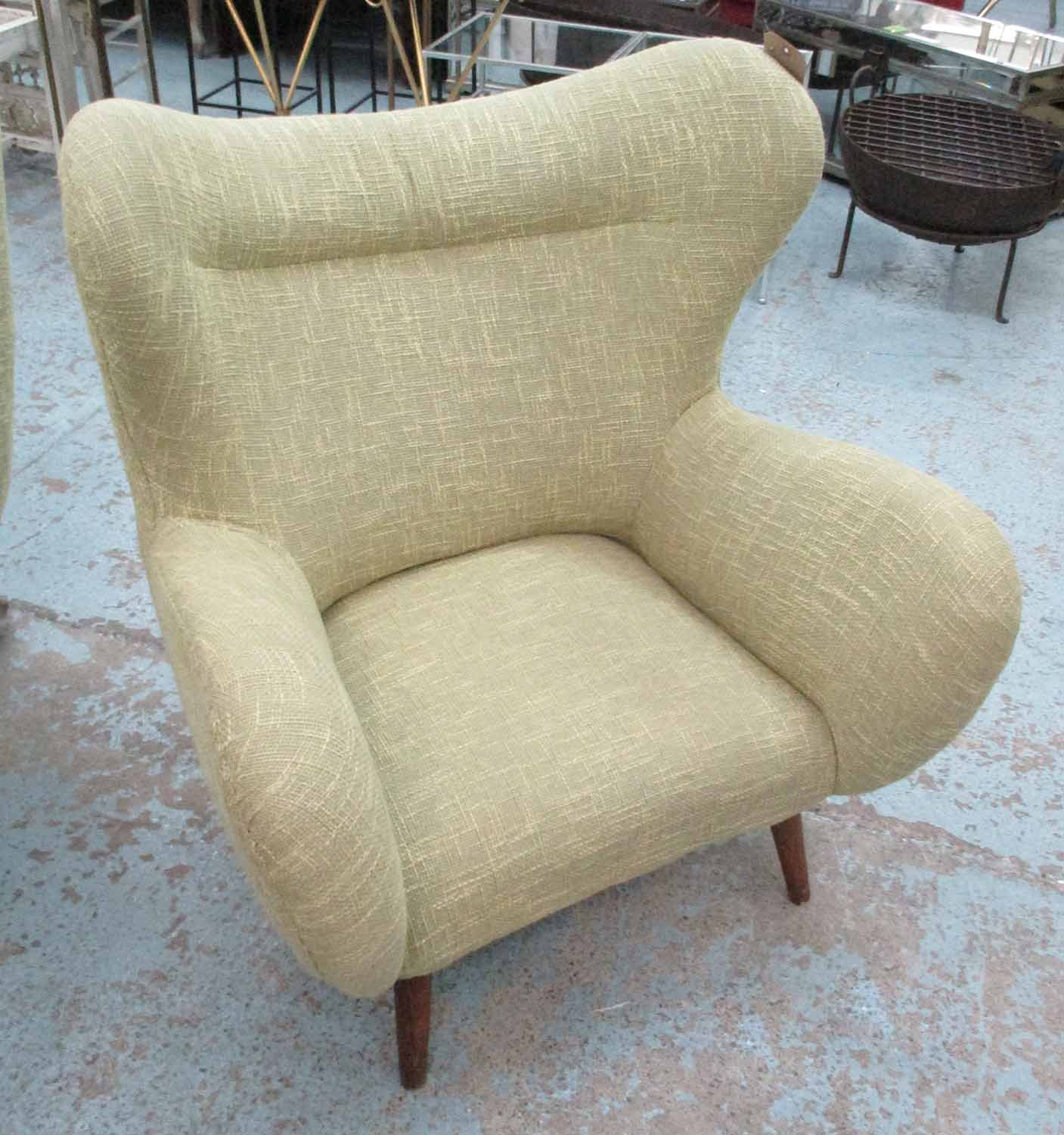 Lot 5 - CHAIRS, a pair, vintage Italian design, in later contemporary green tweed finish, 100cm H.