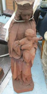 Lot 40 - FIGURE OF MARY AND JESUS, in rustic cast iron finish, 98cm H.