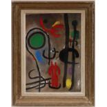 Lot 102 - JOAN MIRO 'Abstract', 1961, pochoir in blue and red, printed by Maeght, edition: 1200, 22cm x 32cm,