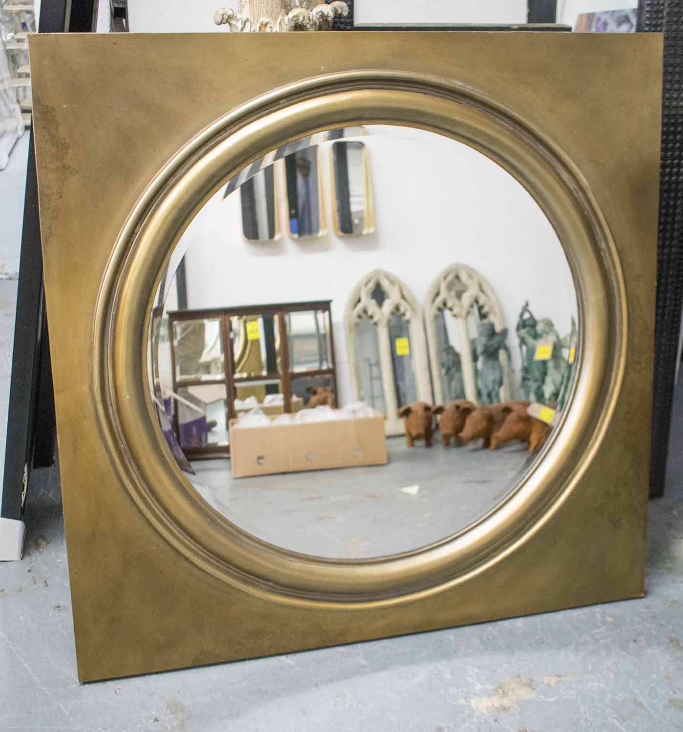 Lot 64 - PORTHOLE MIRROR, circular bevelled plate, 75.5cm diam.