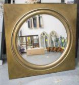 Lot 64 - PORTHOLE MIRROR, circular bevelled plate, 75.5cm diam.