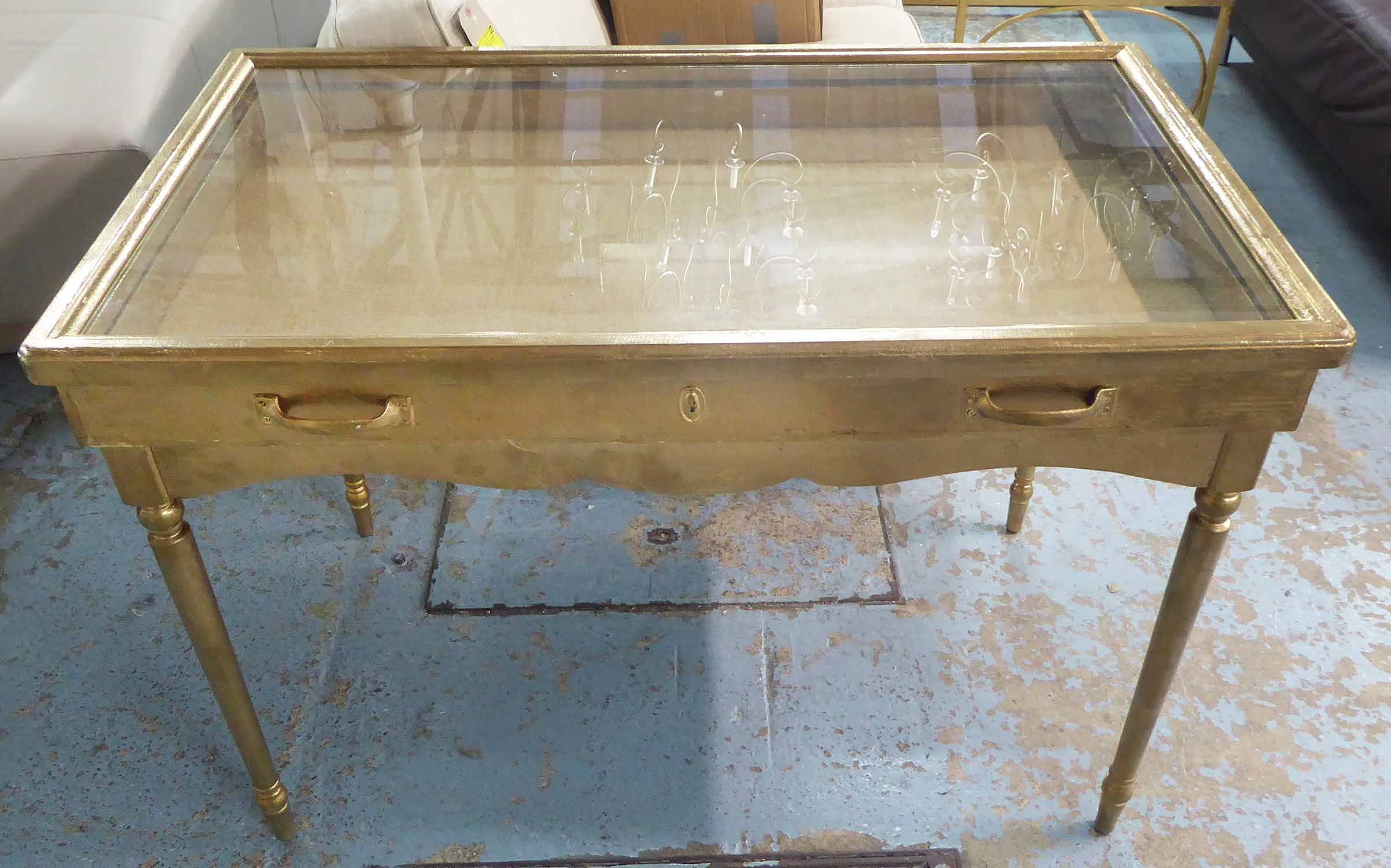 Lot 99 - COLLECTORS DISPLAY CASE, on stand, vintage style gilt finish, 85cm H.