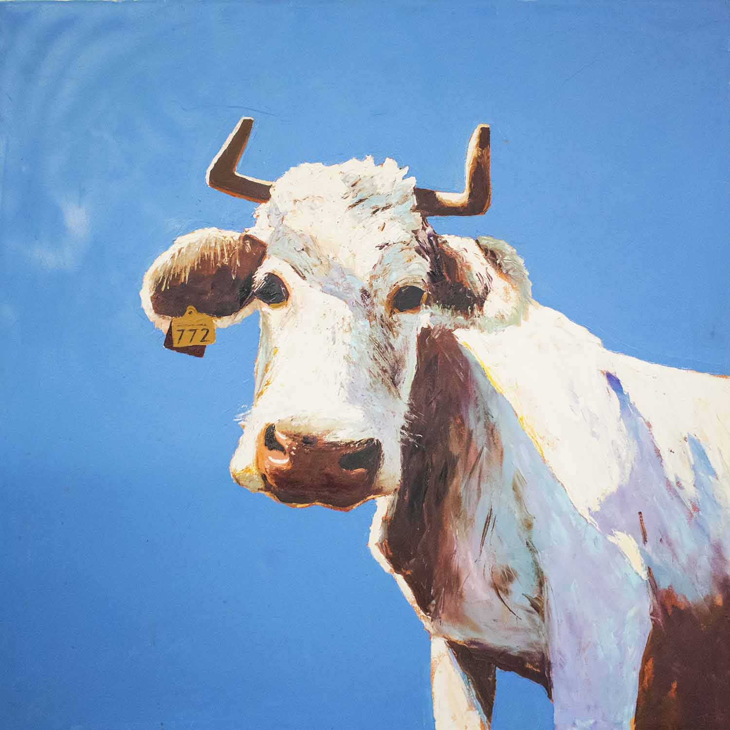 Lot 72 - CONTEMPORARY OIL ON CANVAS, , Bull with tag '772', signed 'JS 03', 100cm x 100cm.