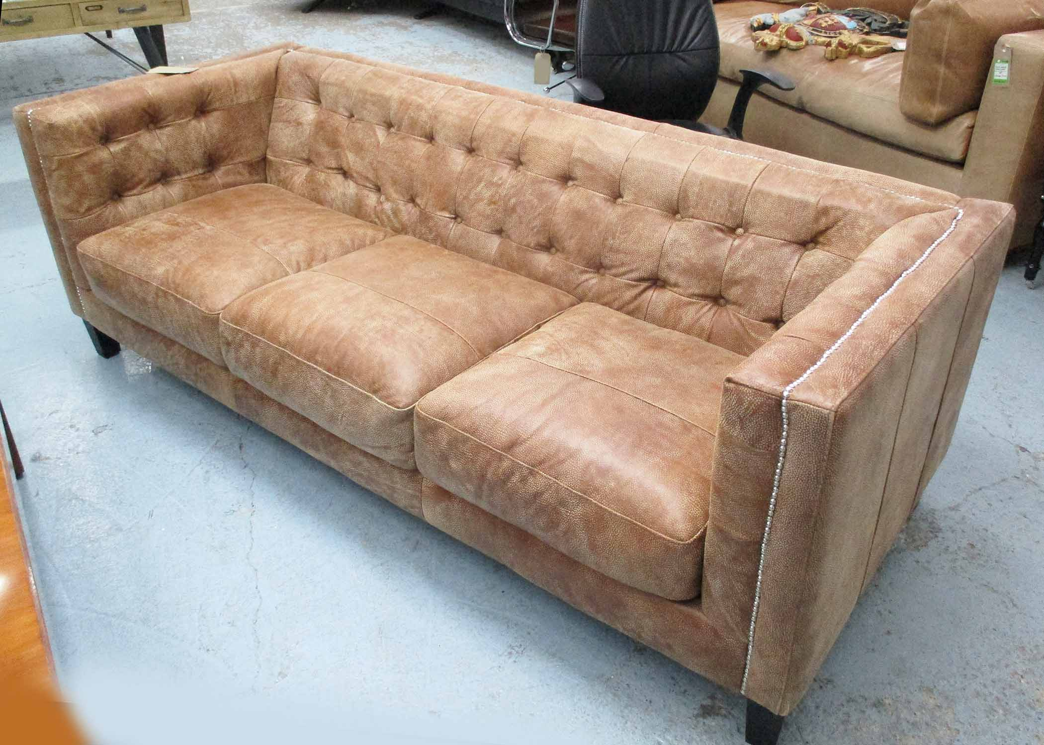 Lot 6 - SOFA, contemporary design, tan, buttoned back with studded detail, 210cm W.