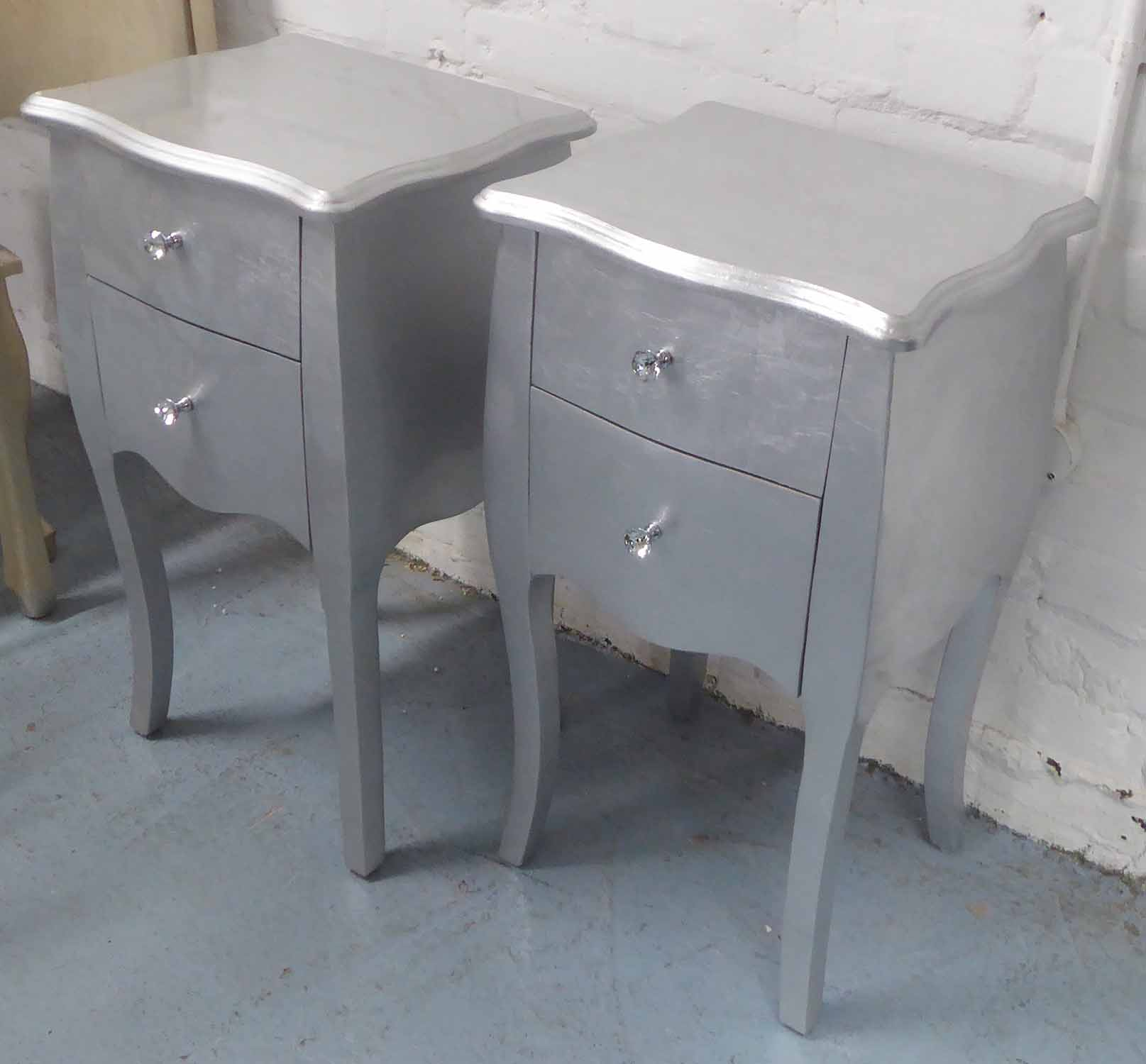 Lot 89 - SIDE CHESTS, a pair, French style silvered finish with diamante handles, 72cm H.