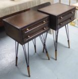 Lot 91 - SIDE CHESTS, a pair, in the French Industrial manner, 40.5cm W x 34cm D x 69cm H.