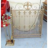 Lot 95 - FIRE SIDE COMPANION SET, English country style, gilt finish, 86cm at tallest.
