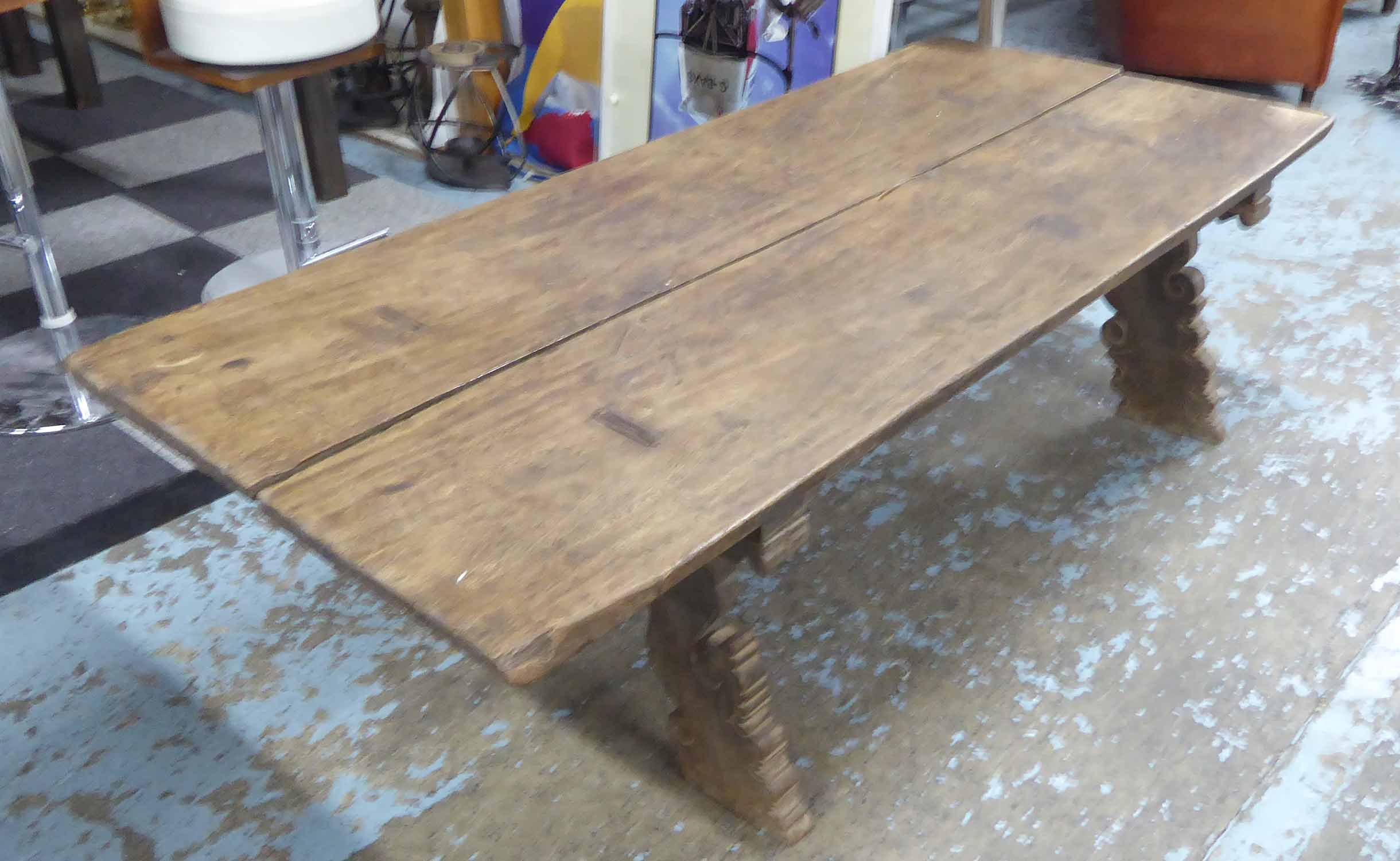 Lot 22 - LOW TABLE, vintage South-East Asian hardwood, with carved base, 177cm L x 80cm W x 36cm H.