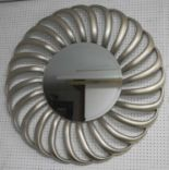 Lot 68 - SUNBURST MIRROR, circular bevelled mirror within silvered starburst frame, 102cm D.