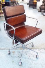 Lot 110 - REVOLVING DESK CHAIR, Charles Eames inspired, padded leaf brown leather,