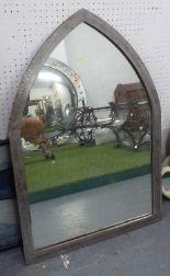 Lot 66 - STEEL FRAMED MIRROR, of lancet shape, 90.5cm H x 60.5cm W max.