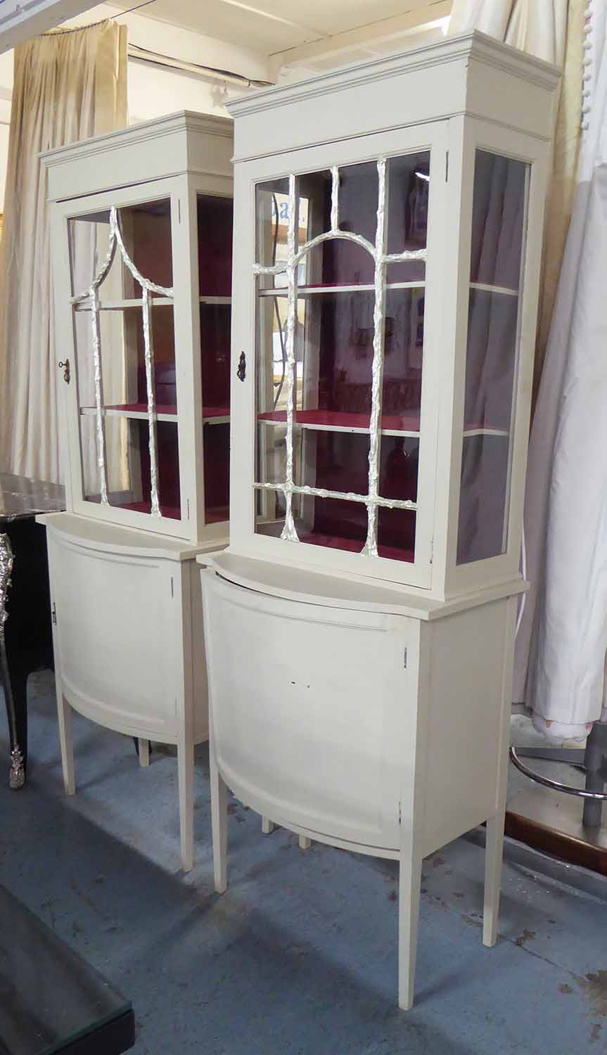 Lot 24 - SIDE CABINETS, a pair, Edwardian inspired design, with contemporary detail, 64cm x 40cm x 183cm.