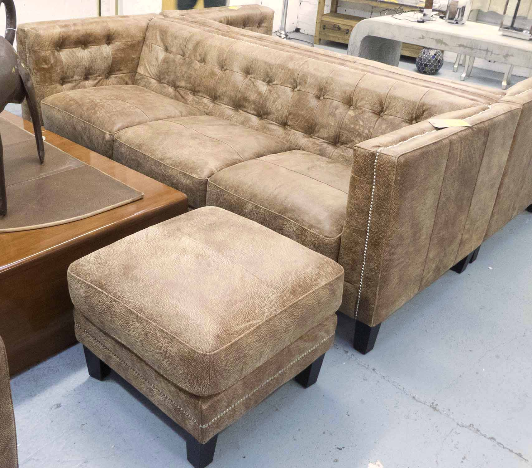 Lot 2 - SOFA AND STOOL, contemporary design, tan, buttoned back, with studded detail, 210cm W.