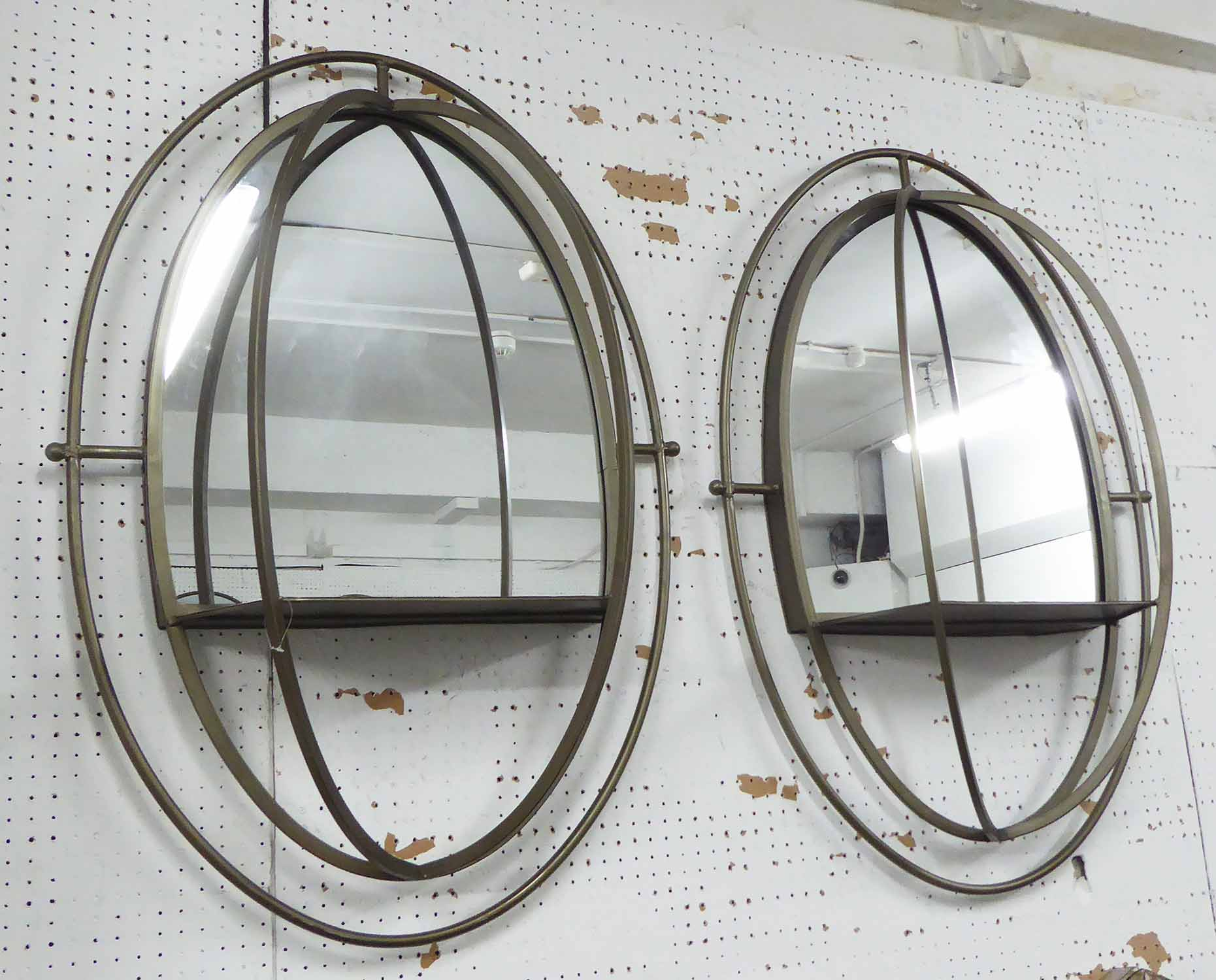 Lot 85 - MIRRORED WALL NICHES, a pair, 1950s English inspired design, 110cm x 70cm.