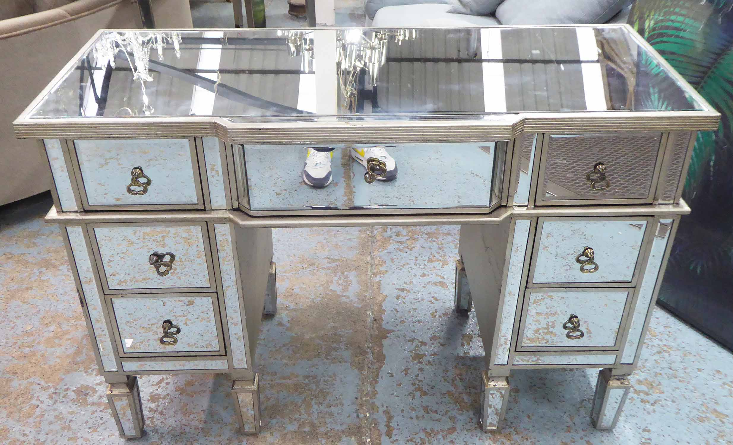 Lot 71 - DRESSING TABLE, silvered wood and mirrored with seven drawers, 82cm H x 121cm x 52cm.