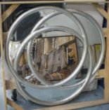 Lot 67 - WALL MIRROR, silvered wood in the form of three interlocking circles with bevelled plates, 102cm W.