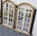 Lot 78 - MIRRORS, a pair, French provincial window style, 122cm x 72cm.