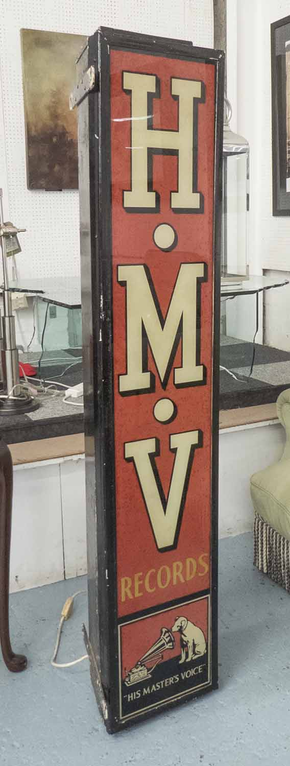 Lot 3 - HMV SHOP LIGHT, vintage 1950's, adapted for home use, 56cm H.