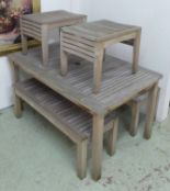 Lot 36 - GARDEN TABLE, weathered teak, plus two benches and two stools to match, by Kingdom Teak,