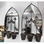 Lot 100 - ARCHED MIRRORED METAL WALL PLANTERS/CANDLES, a pair, with metal pots, 80cm H x 45cm.