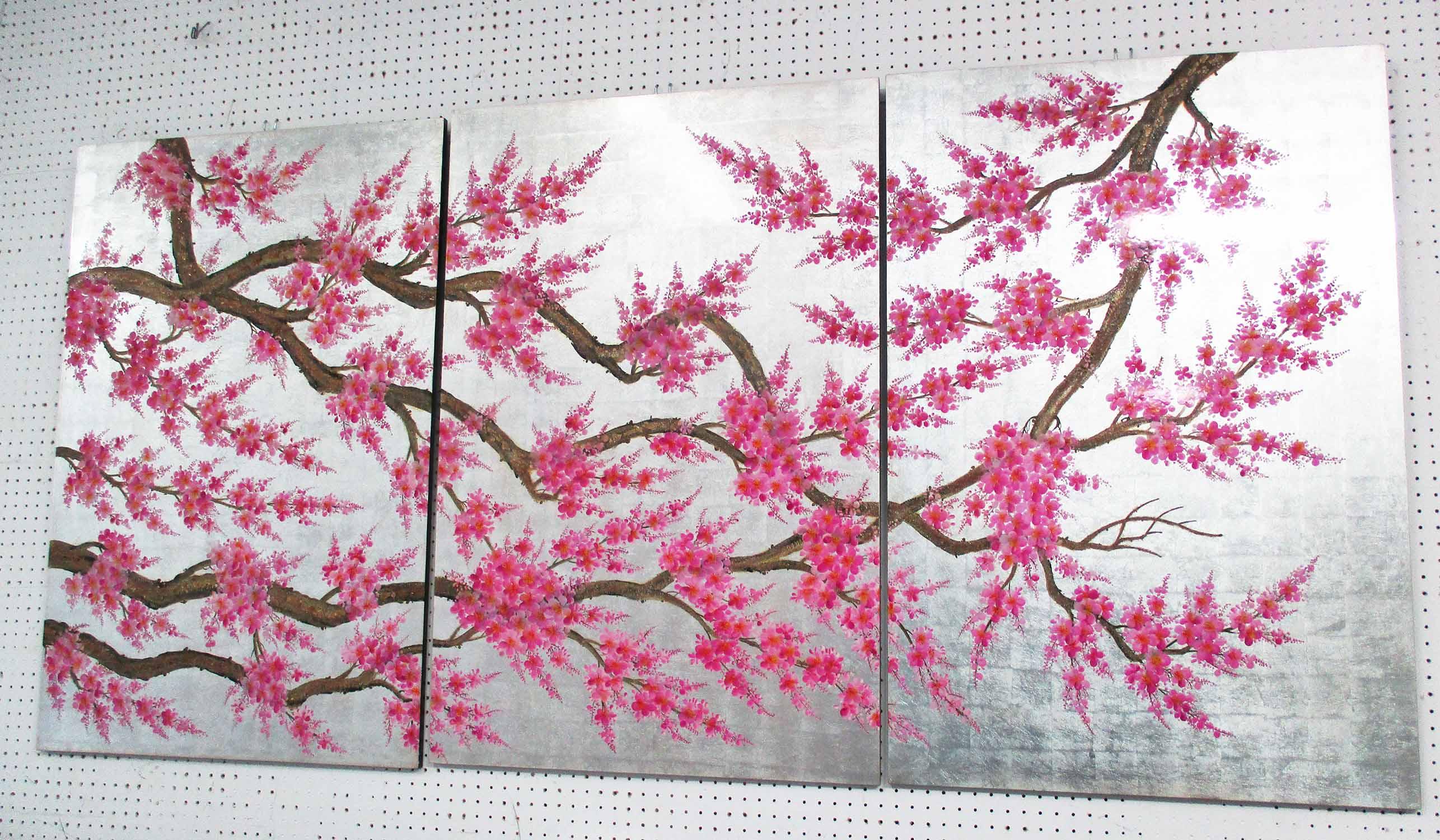 Lot 120 - SAKURA CHERRY BLOSSOM PANELS, three, lacquered, each panel 60cm x 90cm.
