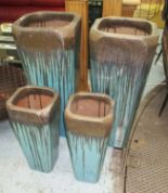 Lot 39 - GLAZED PLANTERS, two pairs, contemporary style, blue over black glazed, two large 90cm H x 42cm W,
