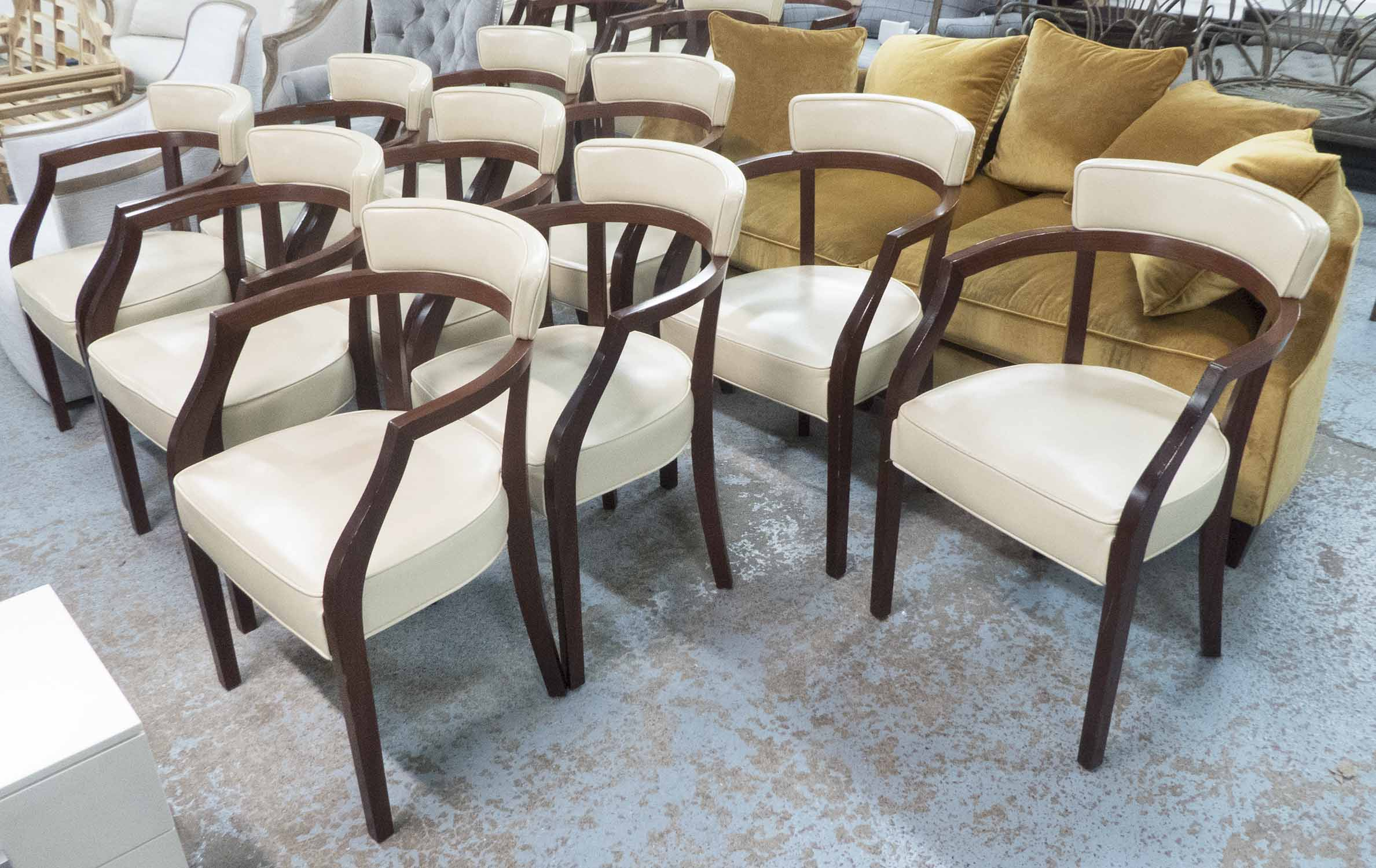 Lot 37 - DINING CHAIRS, a set of ten, 'Neoz', by Philippe Starck, in cream leather, each chair RRP £1500 new,