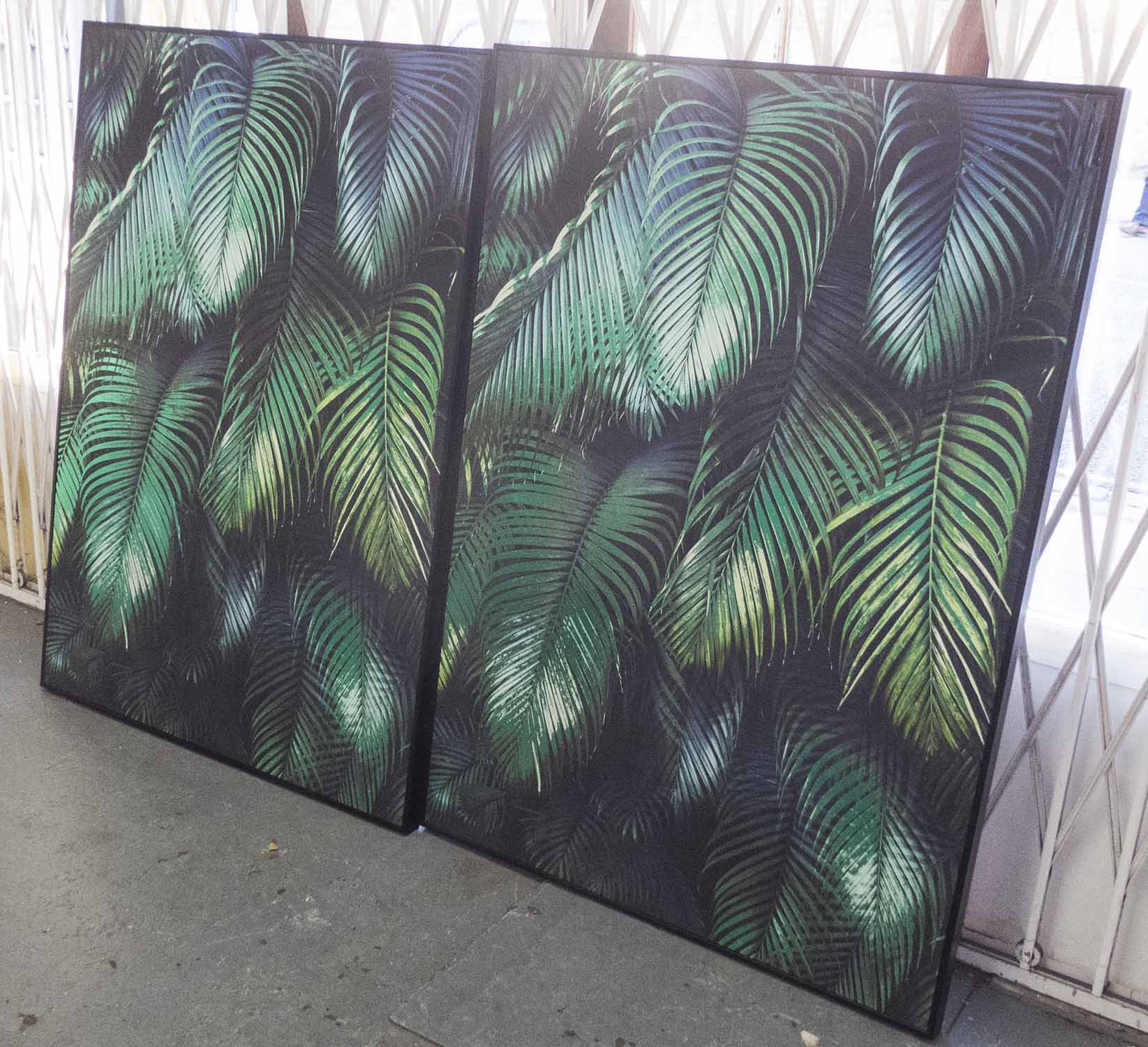 Lot 94 - PALM LEAF DYPTICH, contemporary print, framed, 142cm x 102cm.