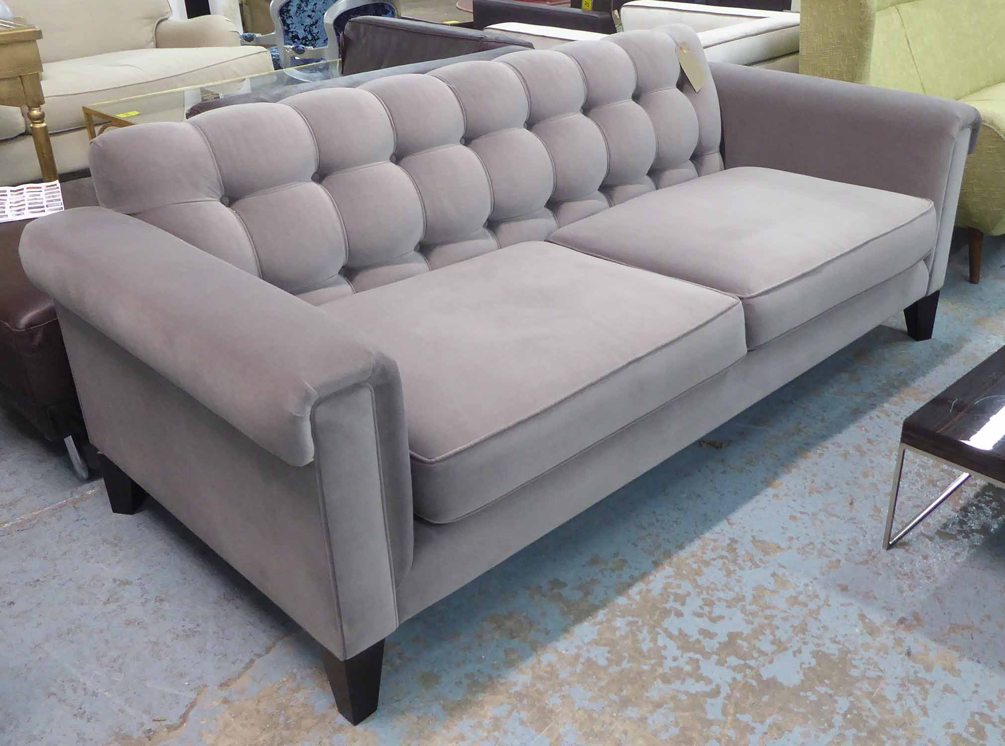 Lot 33 - SOFA, two seater, in button back grey velvet cotton fabric, on square supports, 208cm L.