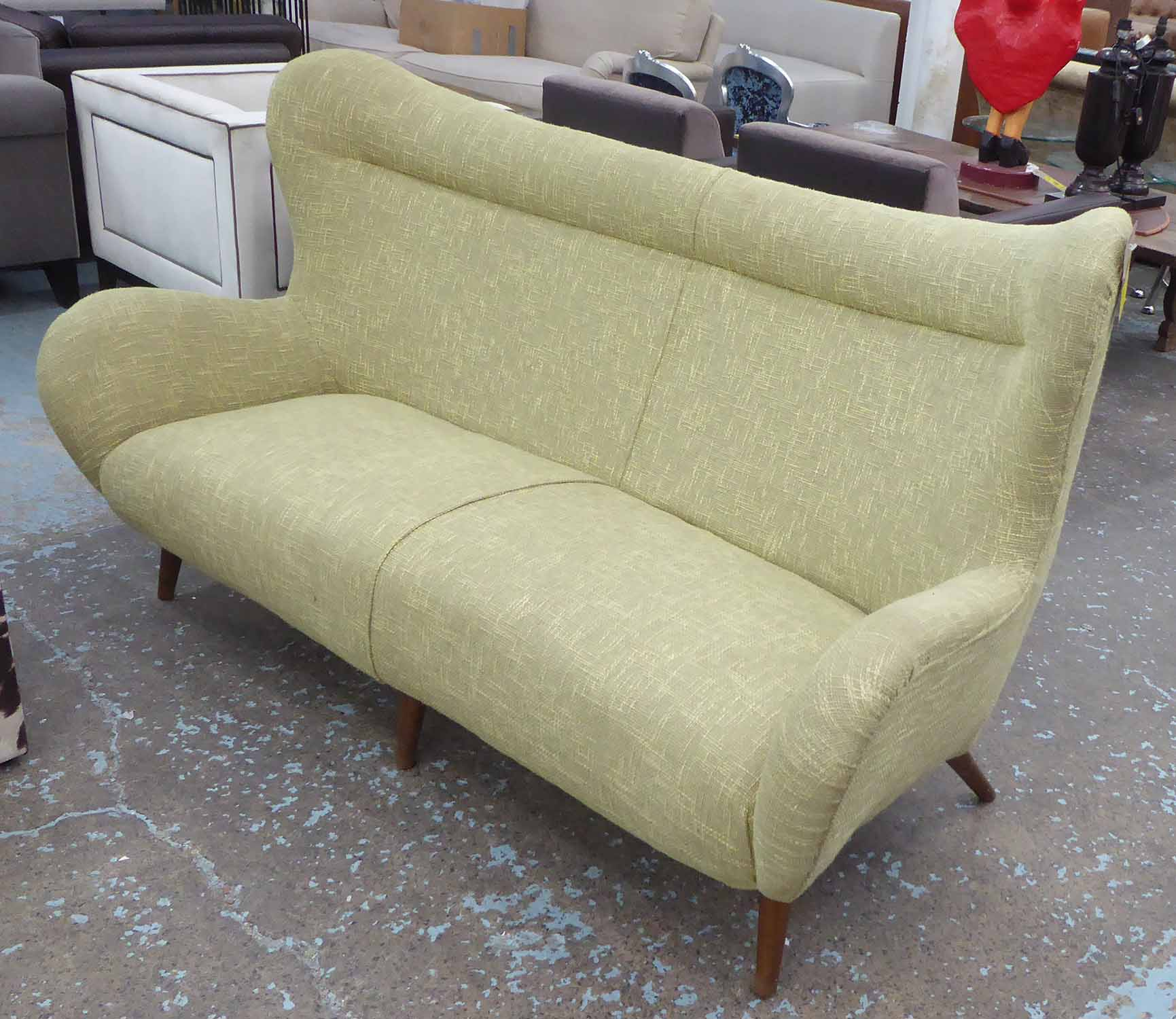 Lot 4 - SOFA, vintage Italian design, in later contemporary green tweed finish, 100cm H.