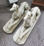 Lot 41 - RECUMBANT GREYHOUNDS, a pair, in reconstituted stone, 82cm L.