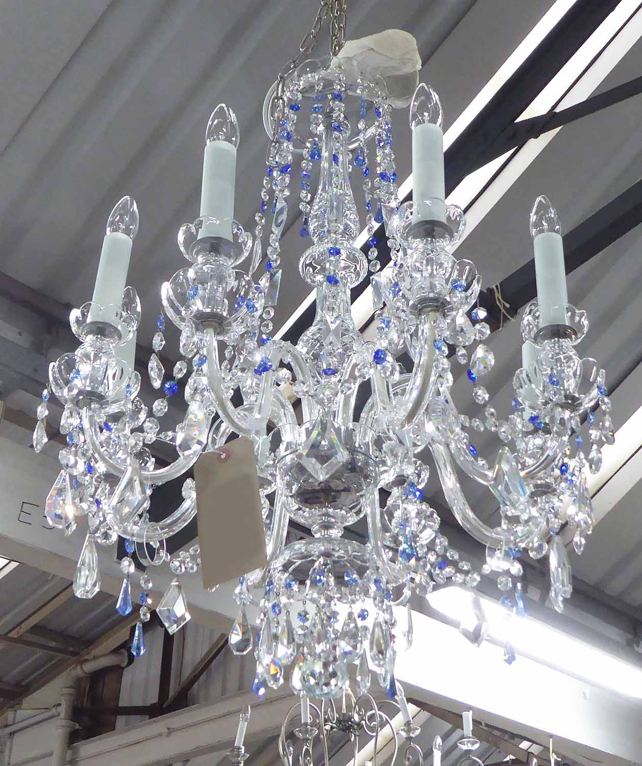 Lot 14 - CHANDELIER, Venetian style, eight branches with swept arms with clear and blue drops, plus chain,