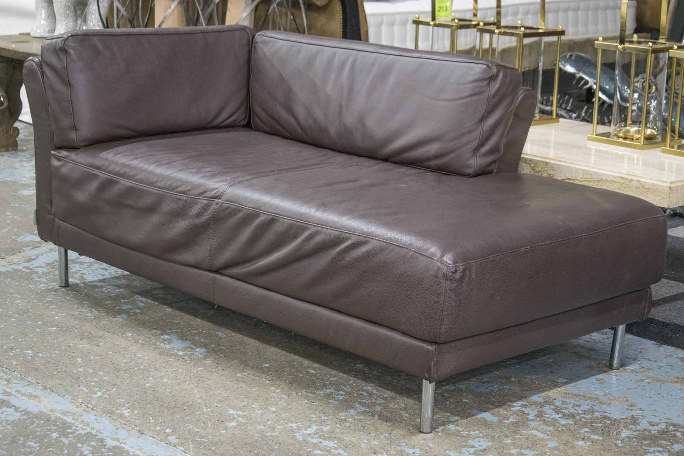 Lot 116 - HABITAT SOFA/DAYBED, grained tan hide rectangular with shaped corner cushions, 167cm W.