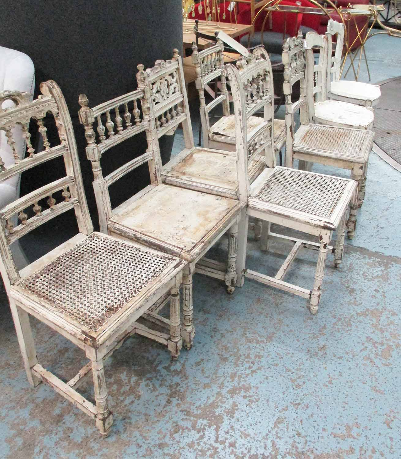 Lot 81 - DINING CHAIRS, a harlequin set of eight, cream painted shabby chic, naturally weathered.