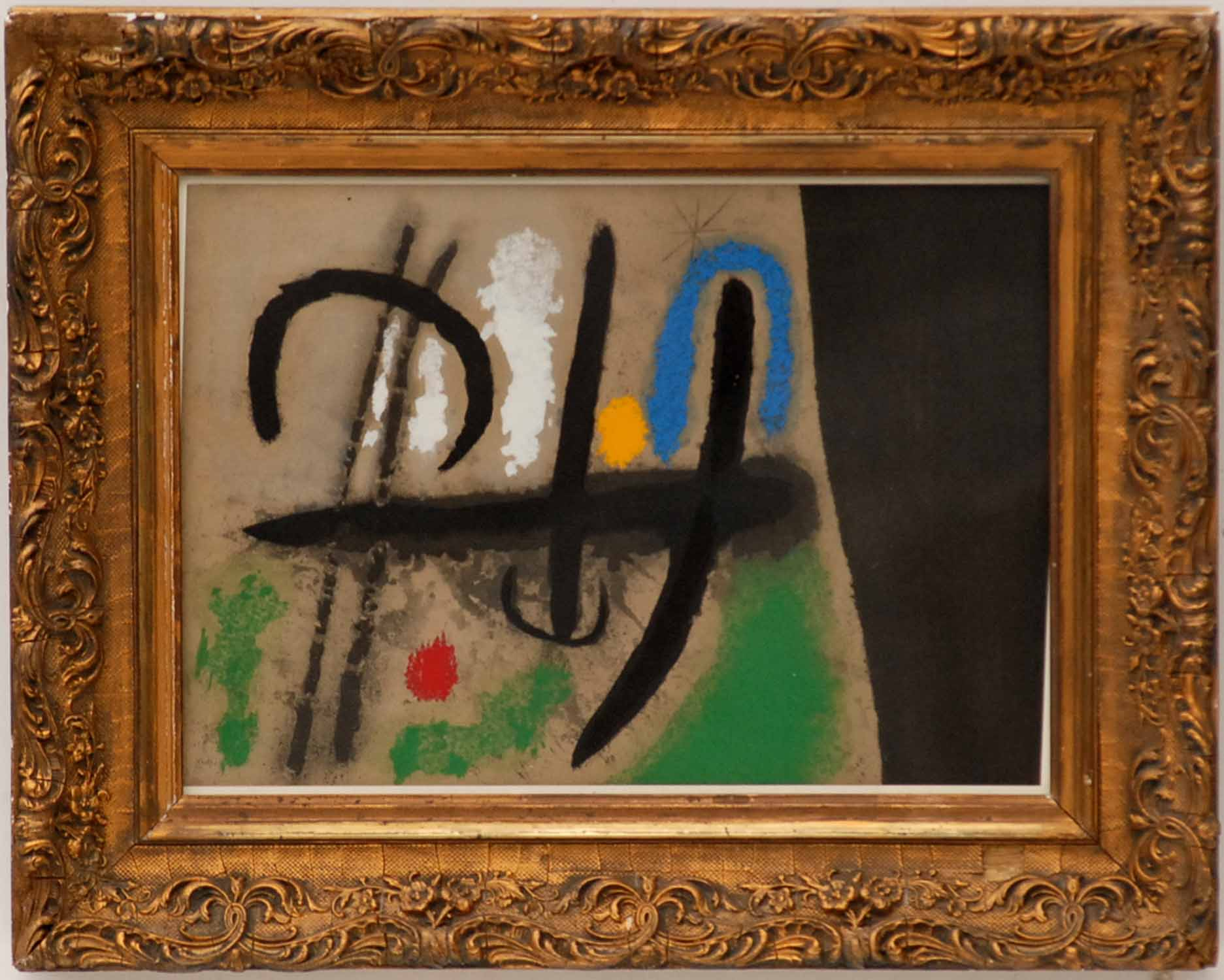 Lot 103 - JOAN MIRO 'Oiseau dans un paysage', hand coloured pochoir, printed by Daniel Jacomet,