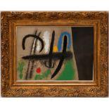 Lot 103 - JOAN MIRO 'Oiseau dans un paysage', hand coloured pochoir, printed by Daniel Jacomet,