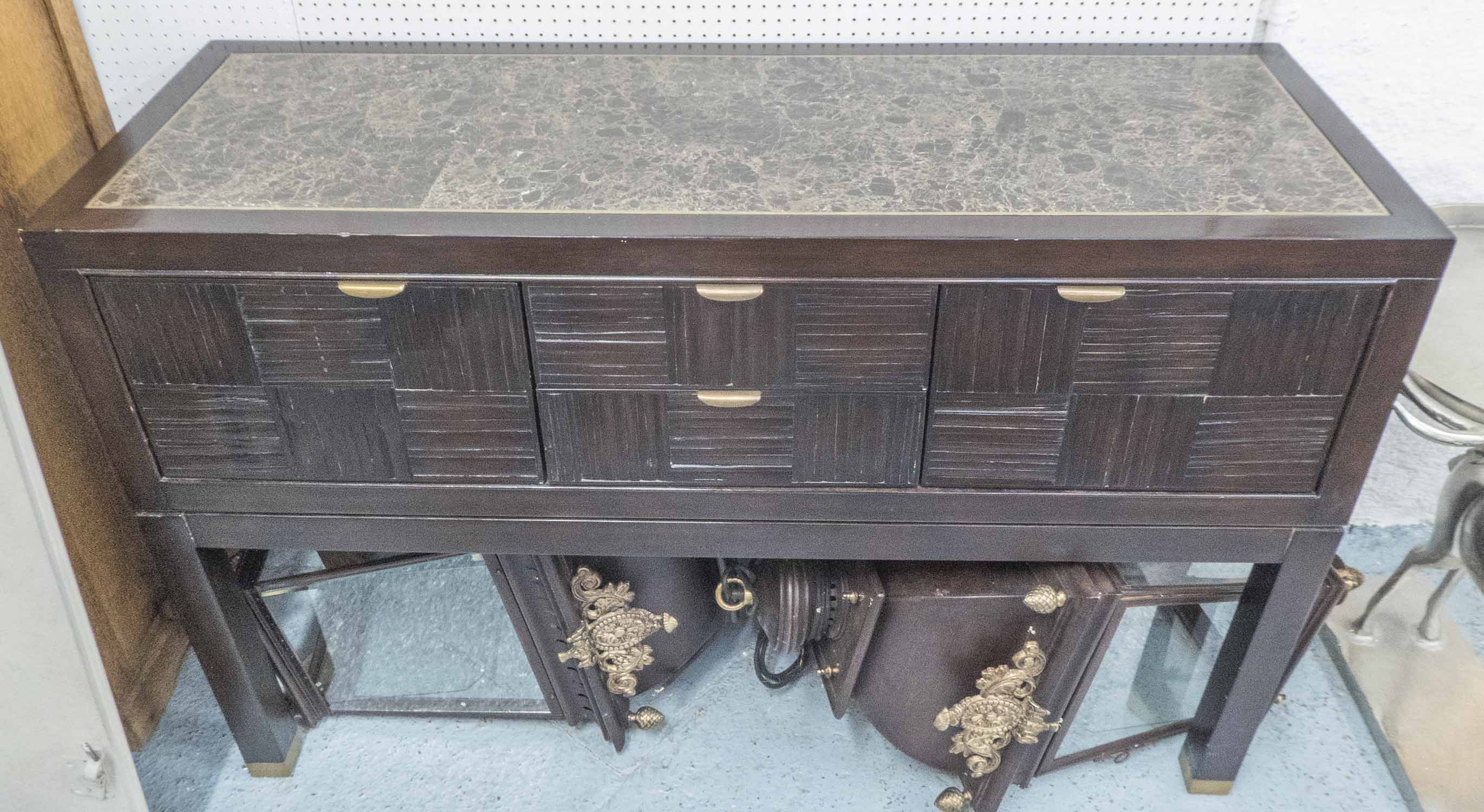 Lot 21 - SIDEBOARD, the inlaid marble top with brass trim over two drawers and two cupboards,