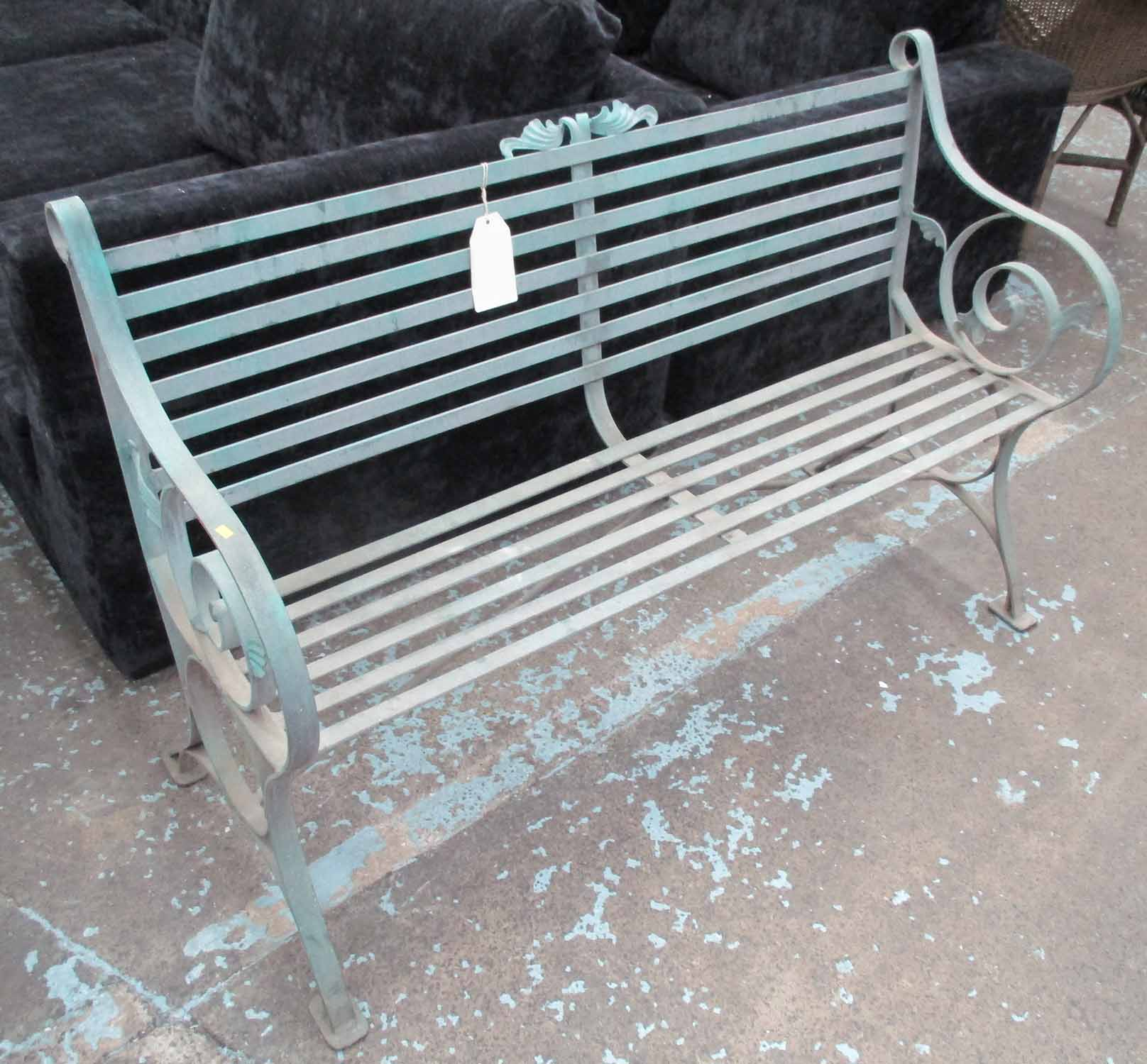 Lot 24 - GARDEN BENCH, painted metal, 130cm W.