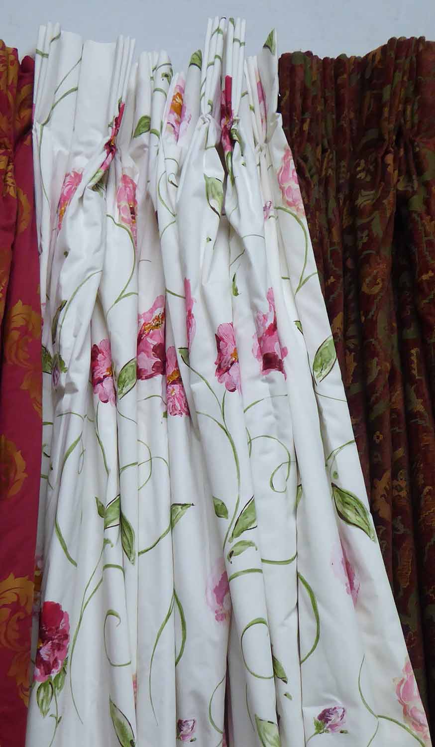 Lot 41 - CURTAINS, a pair, from Nina Campbell floral pattern lined and interlined,